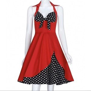 VINTAGE Style Sexy Red Halter Dress w/Polka Dots